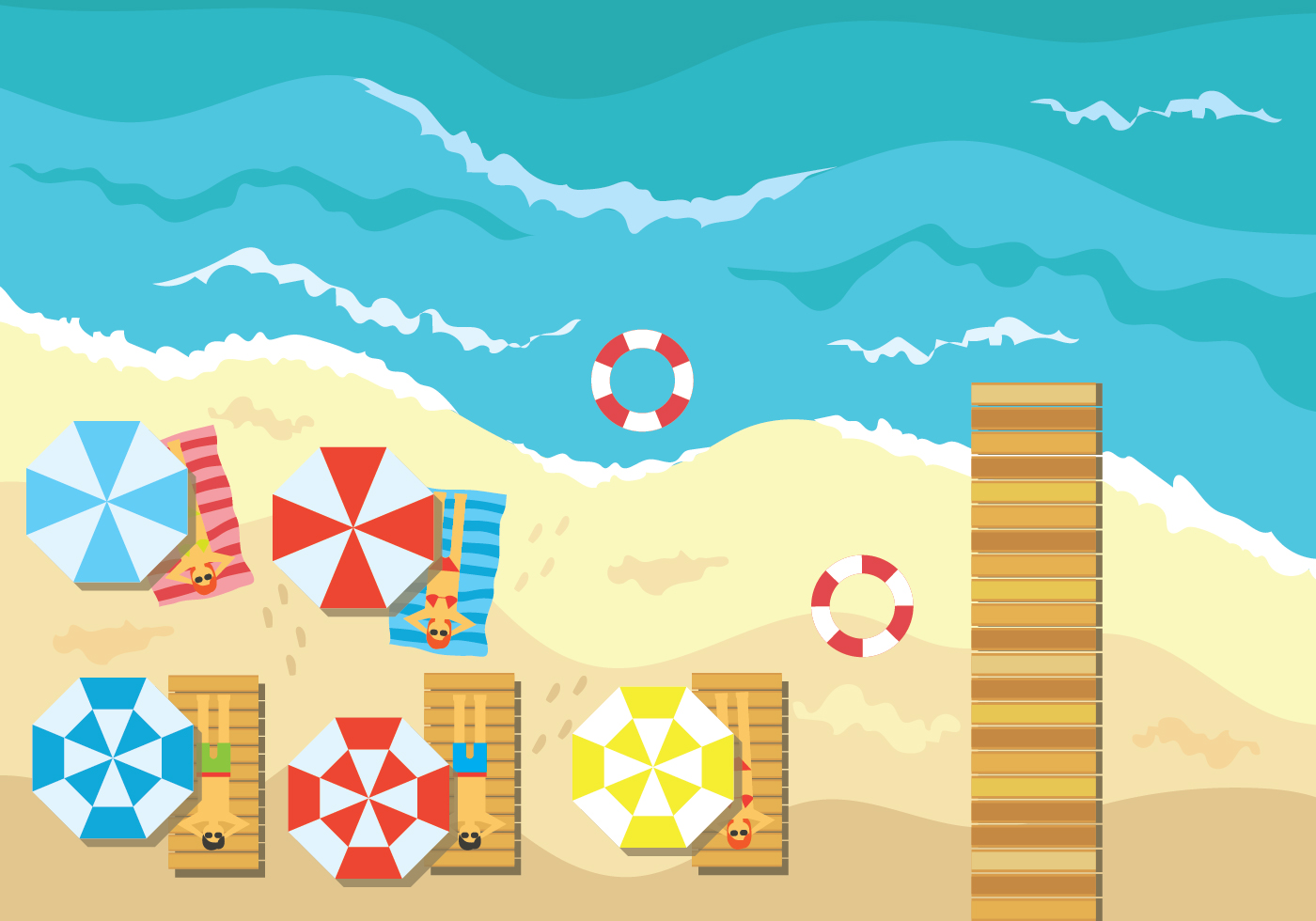 Aerial Beach View Vector Illustration Download Free