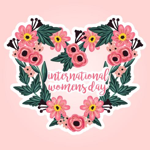 Vector International Women's Day Floral Wreath
