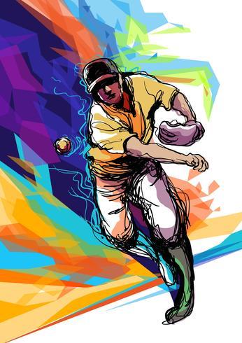 Abstract Baseball Player Illustration