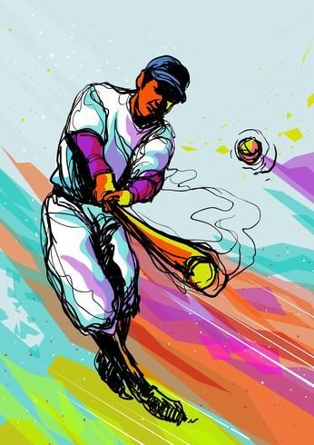 Joueur de baseball abstrait coloré