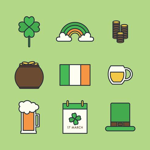 St. Patrick's Day Outlined Icons