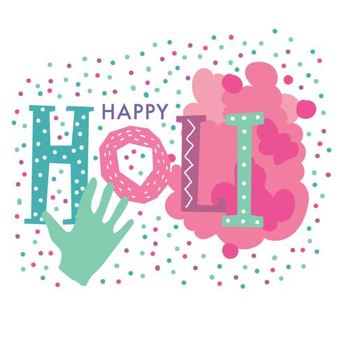 Cute Happy Holi Lettering