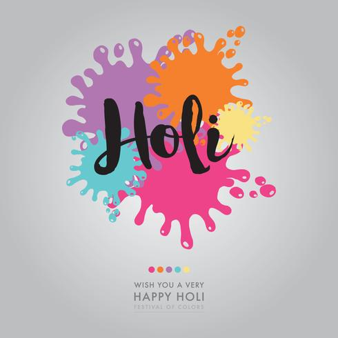 Holi Lettering With Color Spots