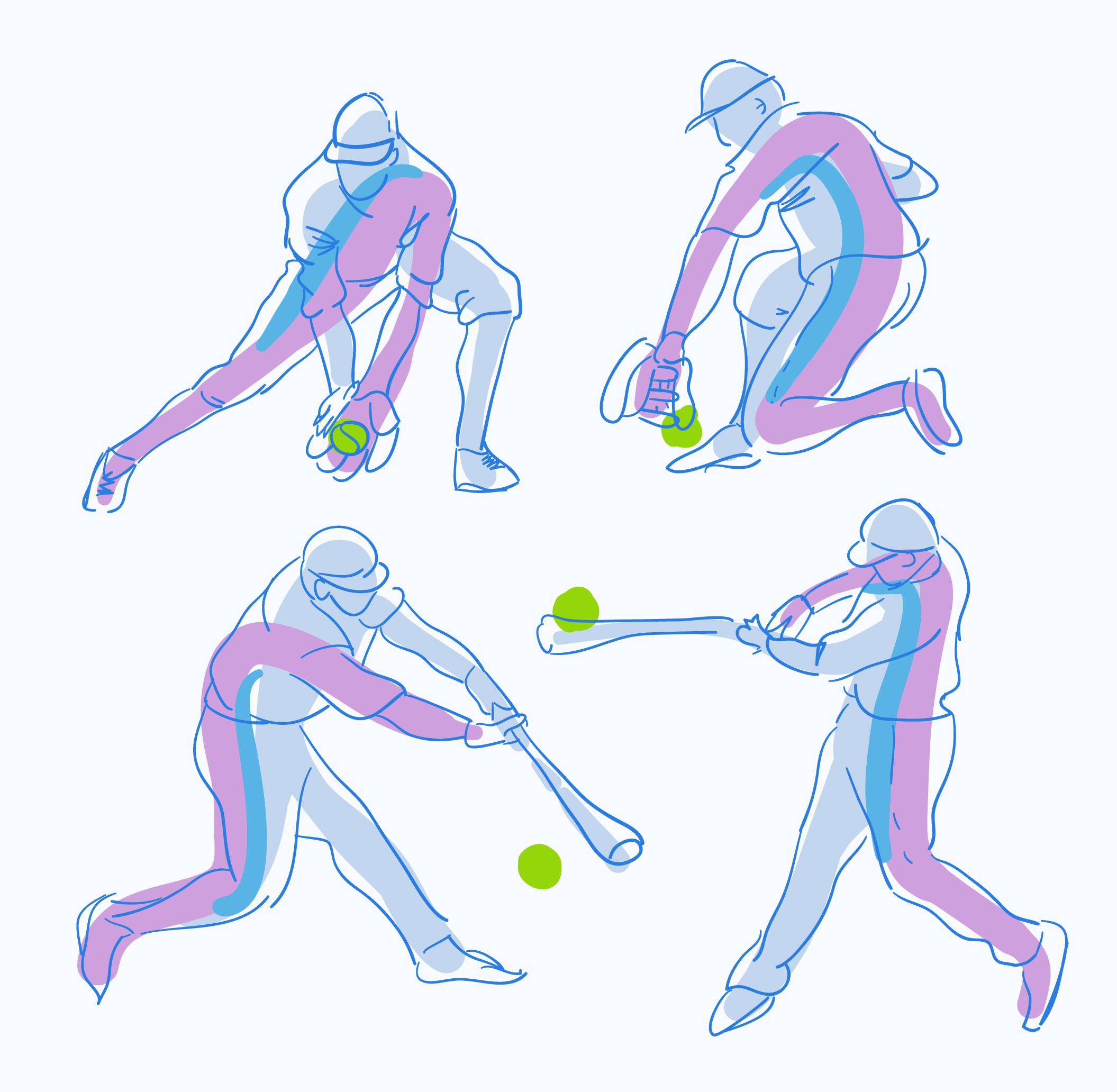 abstract baseball player pose sketch hand drawn vector