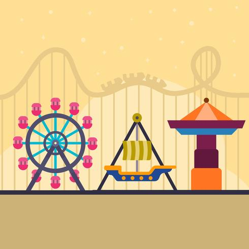 Flat Roller Coaster and Theme Park Vector Illustration