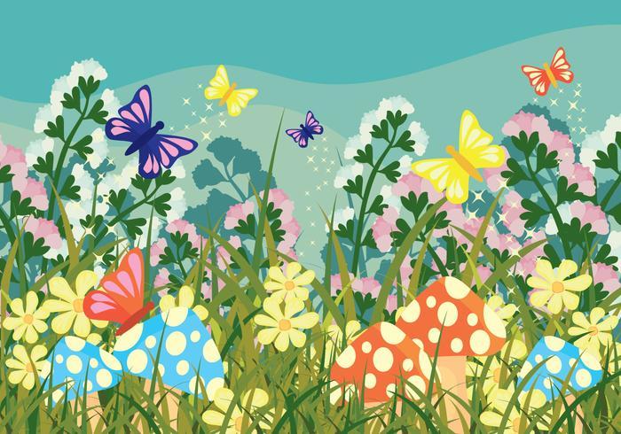 Magical Garden Vector Background