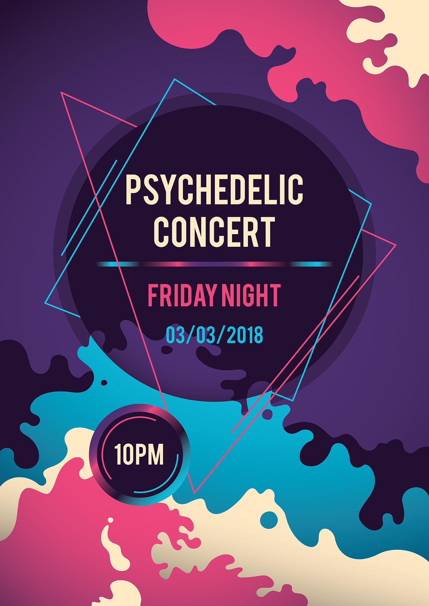 psychedelic concert poster   download free vectors