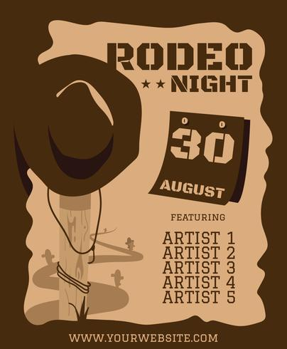 Rodeo-Hut-Flyer-Plakat-Vorlage