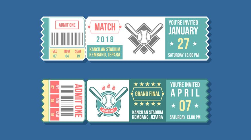 Baseball Event Ticket Free Vector