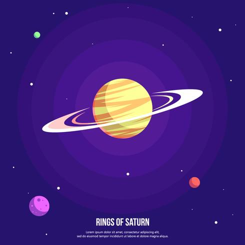 Rings Of Saturn With Purple Background Vector