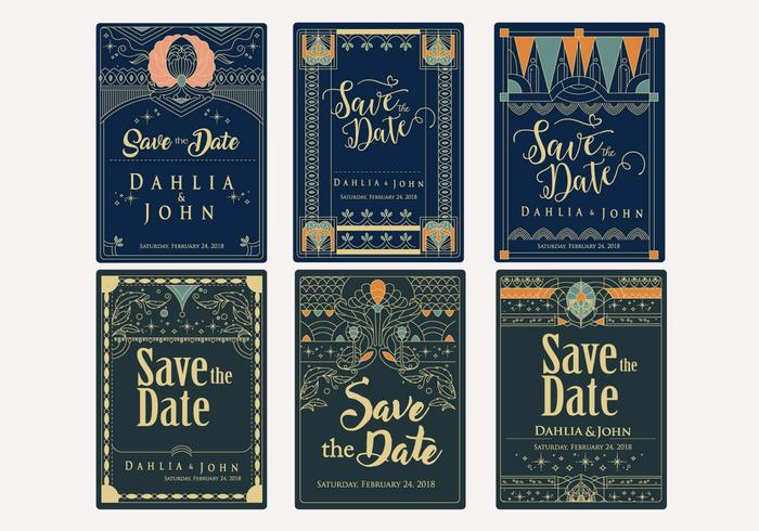 Save the Date Art Deco Style Vector