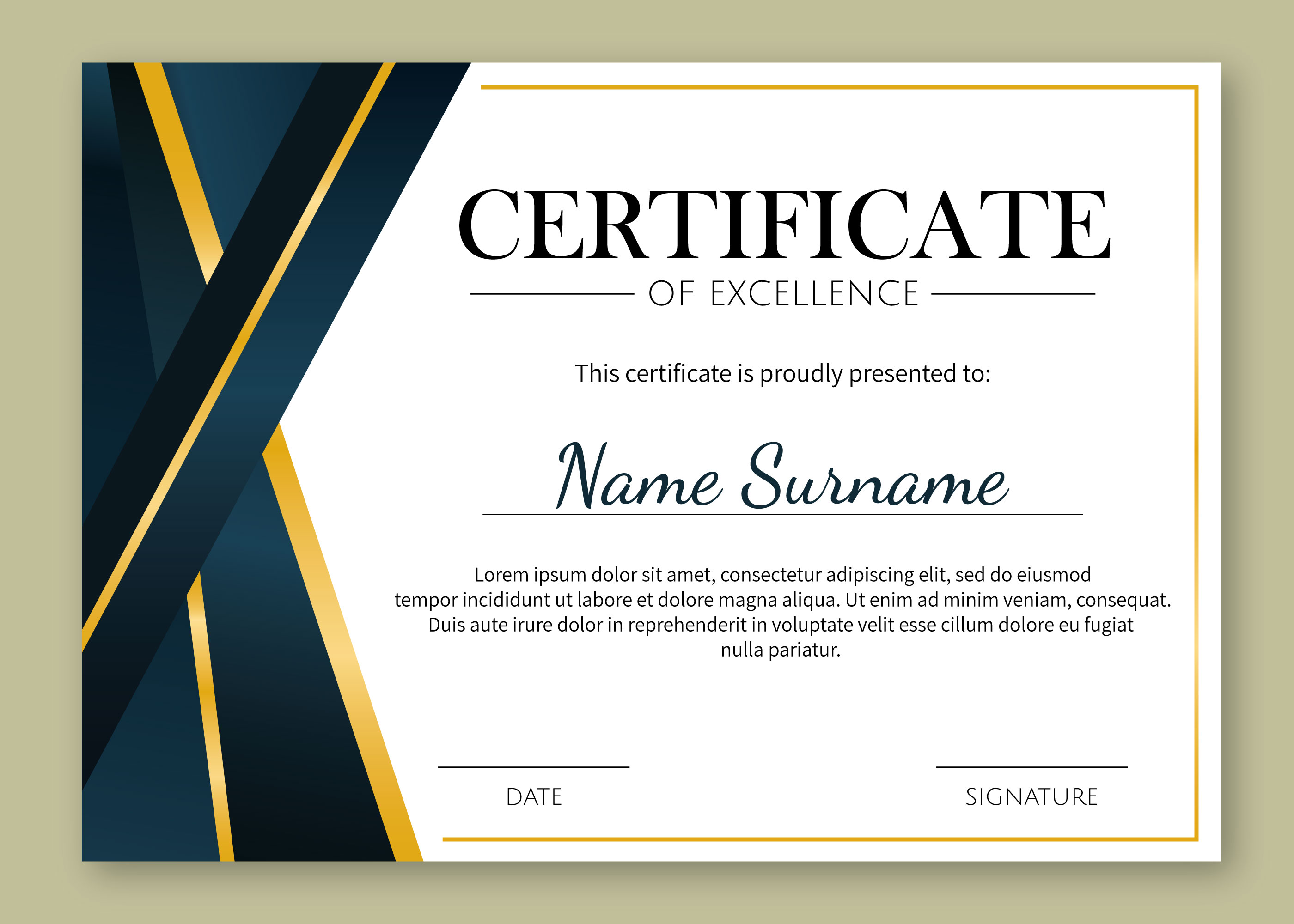 gold details certificate of excellence template