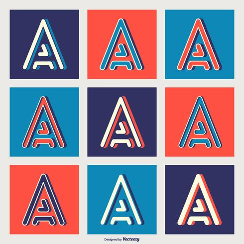 Vector Letter A Typography In Geometric Retro Line Styles
