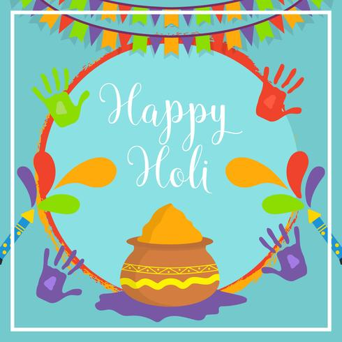 Plat Happy Holi Vector Illustration