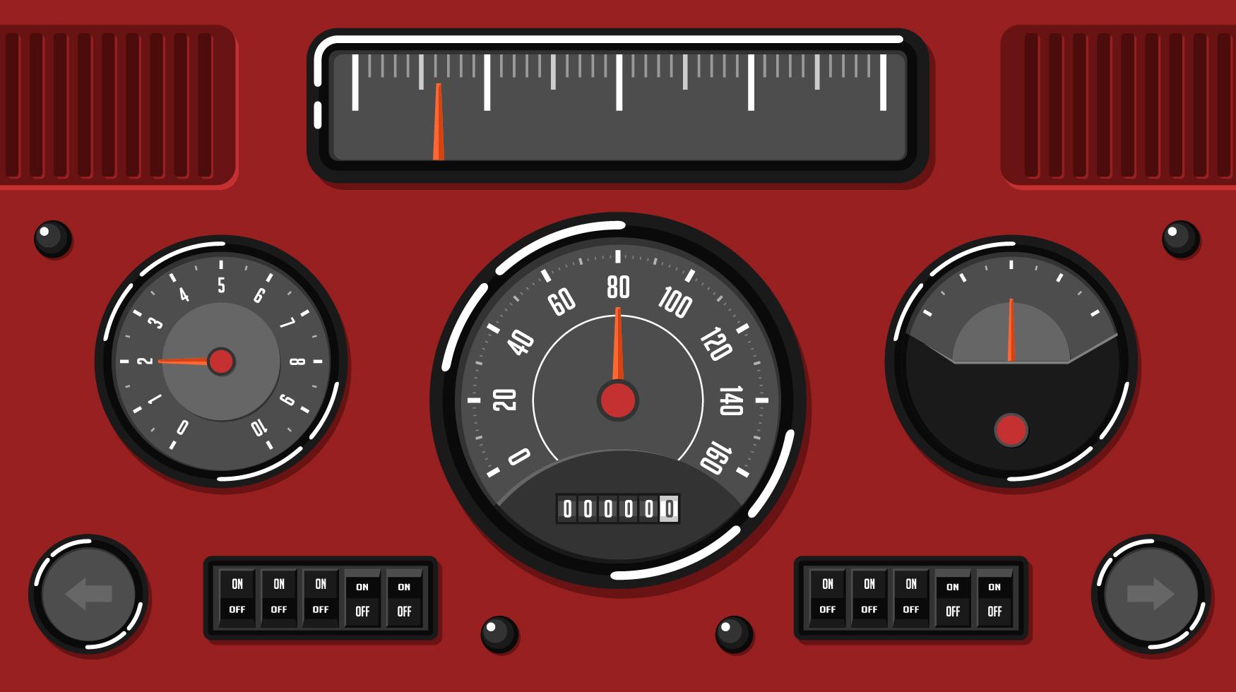 Old Car Dashboard UI Free Vector - Download Free Vectors ...