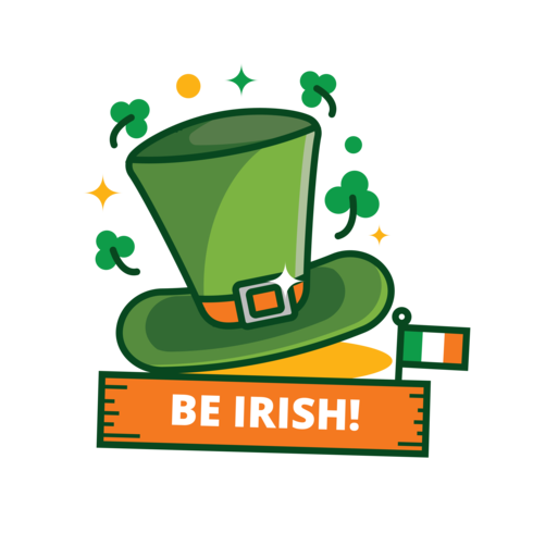 St Patrick's Day Green Hat Sticker