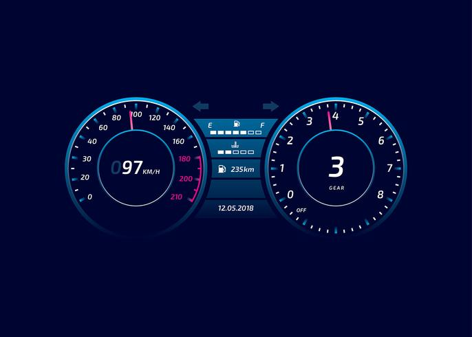 Car Dashboard UI Modern Vector