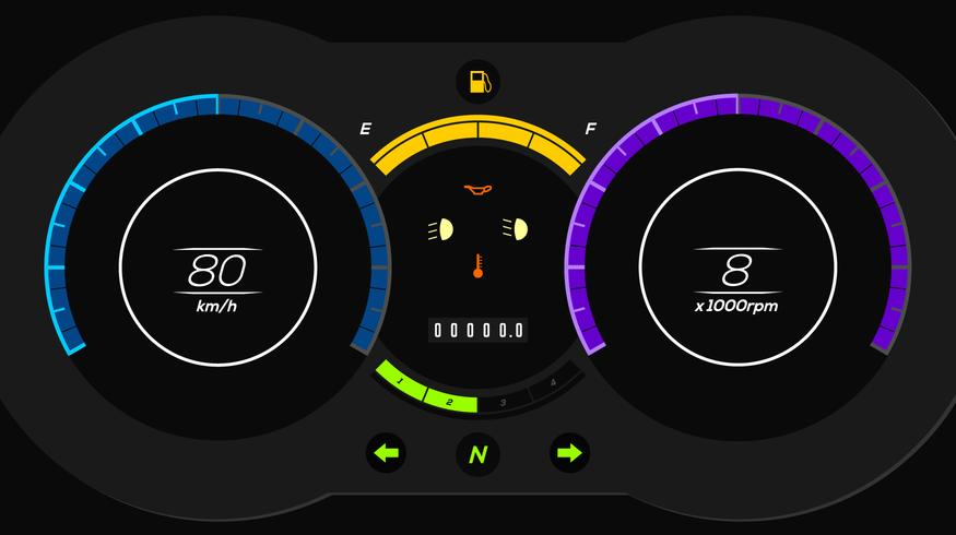 Electric Car Dashboard UI Vector