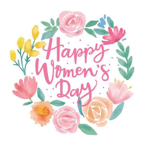 Vector de color de agua de flor de día feliz de las mujeres
