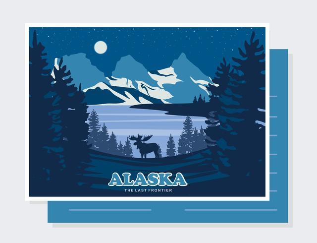 Alaska Postkarte Vektor