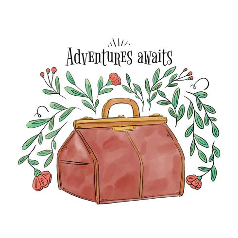 Vintage Suitcase With Leaves, Branches And Flowers vector