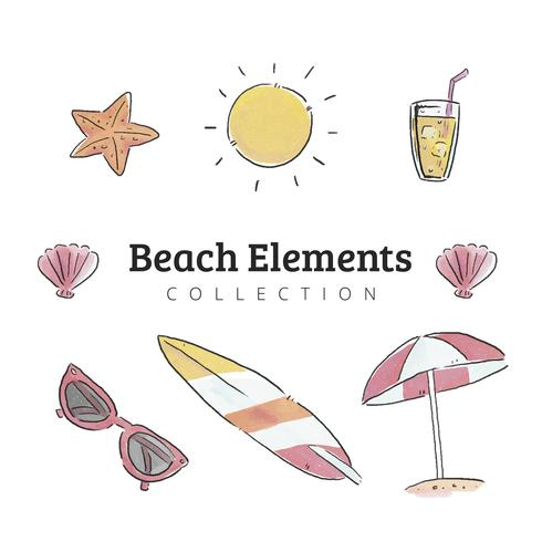 Travel And Beach Elements Collection To Summer