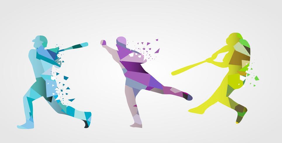 Abstrakt Färgglada Basebollspelare Vector Flat Illustration