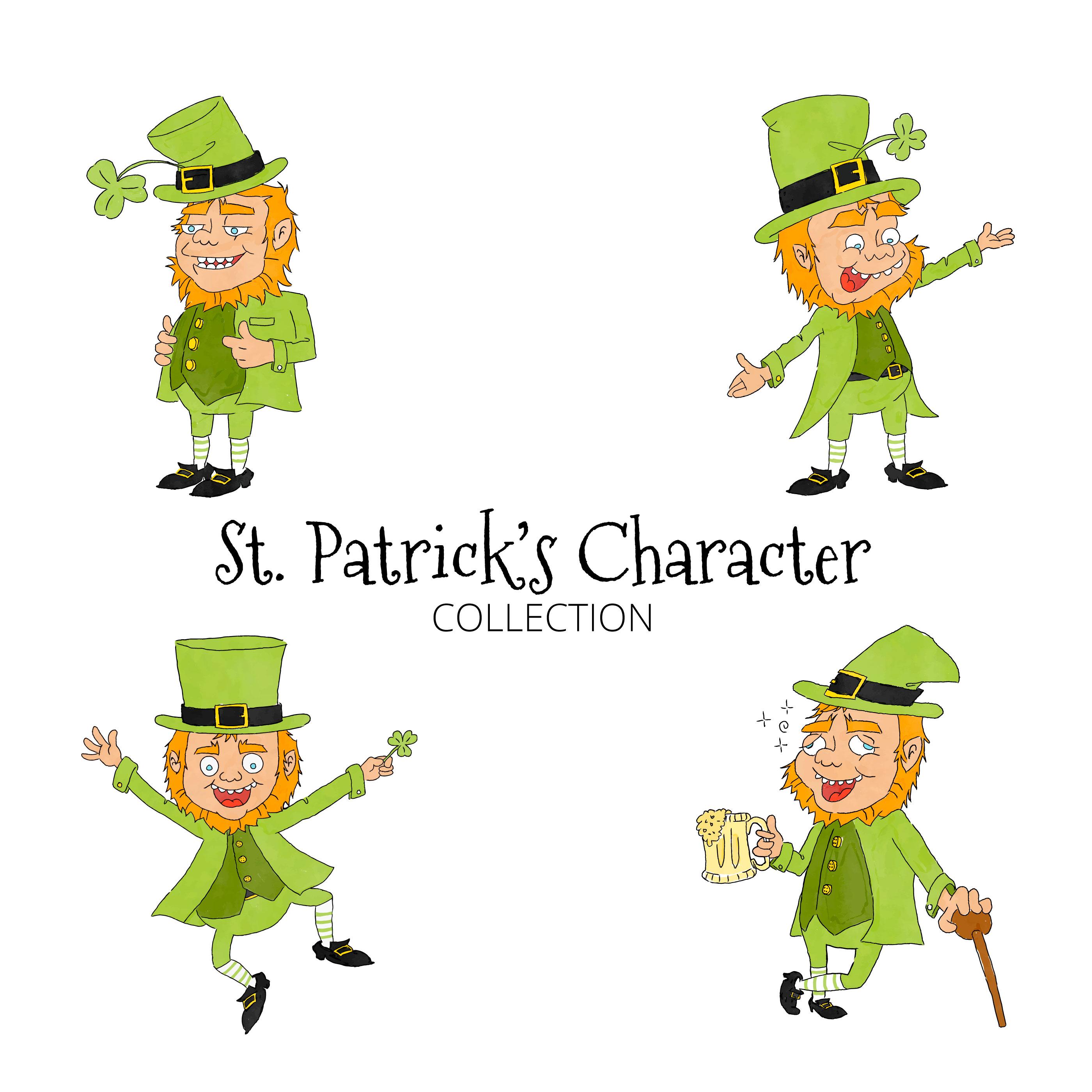 Colección de personajes de dibujos animados lindo San Patricio ...