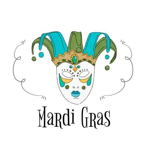 Masque brésilien aquarelle à Mardi Gras