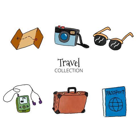 Watercolor Travel Set Elements