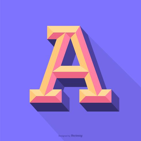 Colorful 3D Beveled Letter A Typography Vector Design
