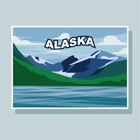 Carte postale de vecteur d'illustration de l'Alaska