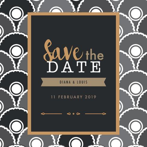Lettering With Art Deco Pattern For Saving The Date Download Free