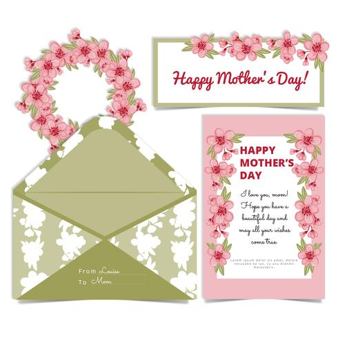 Carte et enveloppe de fleurs de cerisier de vecteur de fête des mères