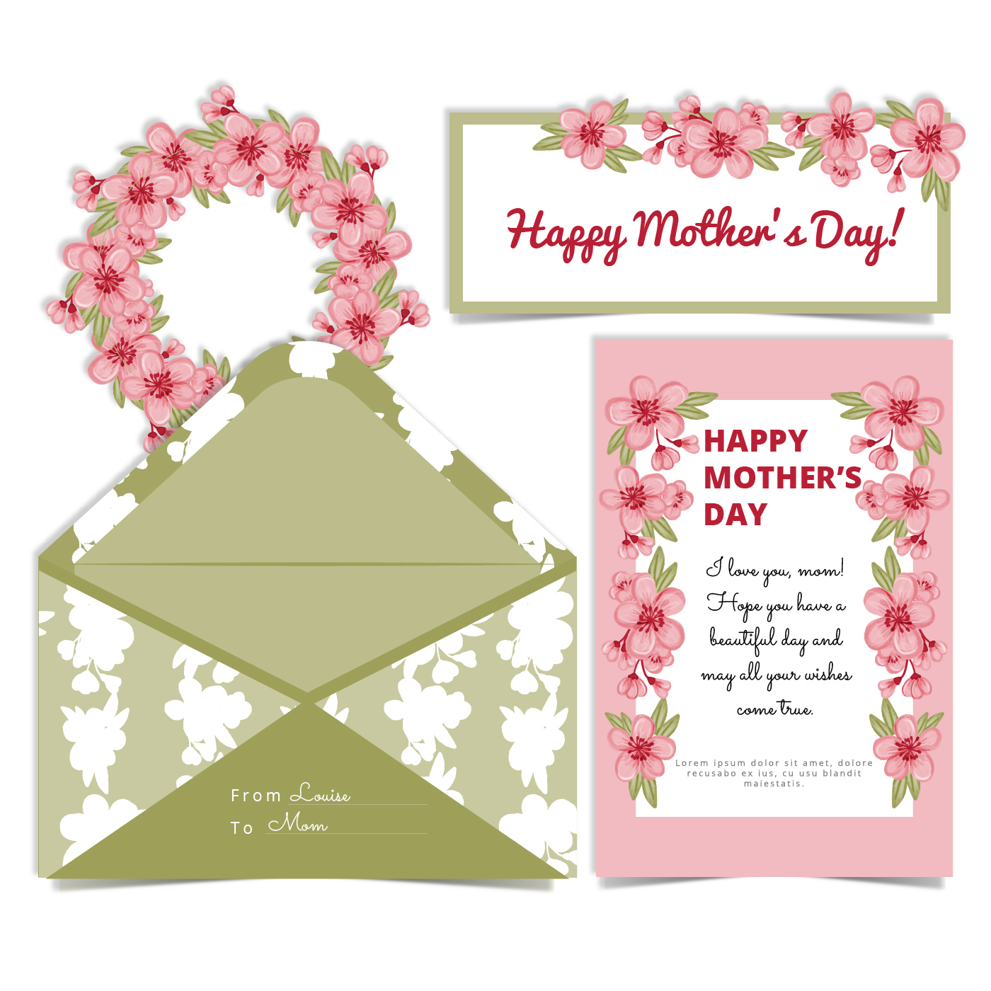 vector mother 39 s day cherry flowers card and envelope download free vector art stock graphics. Black Bedroom Furniture Sets. Home Design Ideas