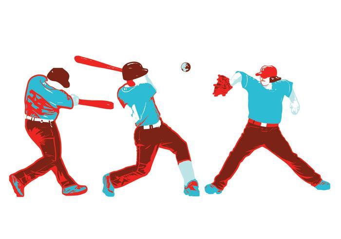 Baseball-Spieler-Vektor-Paket