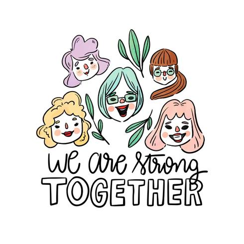 Lettering About Women's Day With Variety Of Women Head And Leaves