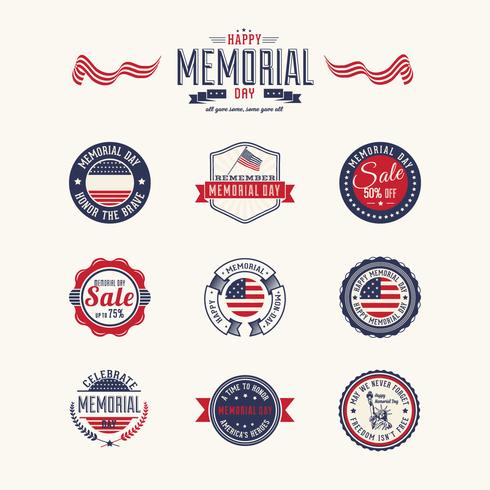 Memorial Day Badges Vector Pack
