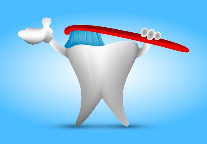 Zahn, der sich Vektor putzt