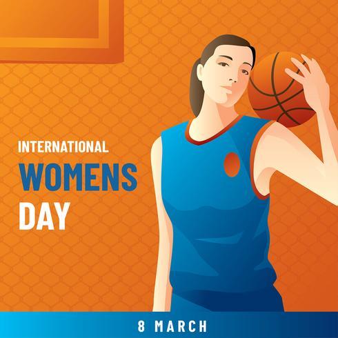 Vecteur de basket-ball de la journée internationale des femmes
