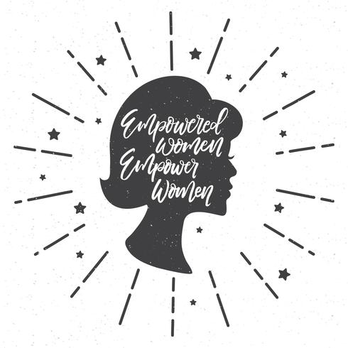 Empower Women Quote Hand Lettering Vector