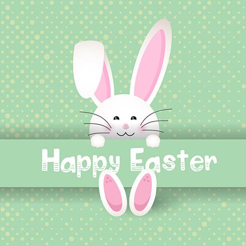 Cute Easter bunny on polka dot background