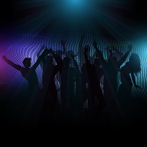 Disco crowd on abstract background with light rays