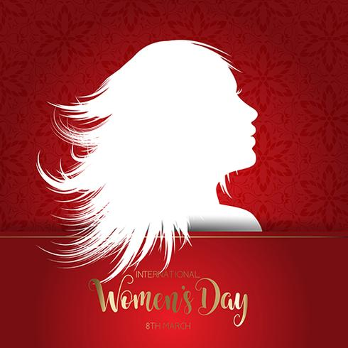 International Women's Day background with silhouette of female f