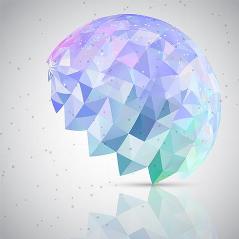 Low poly abstract brain background