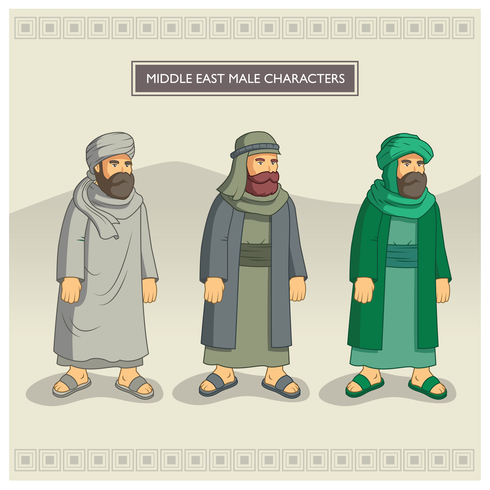 Middle East Male Characters vector