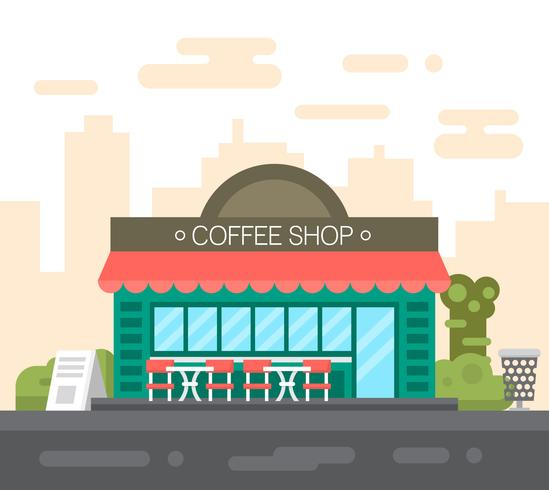 platte koffieshop vector