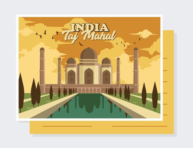 India Postcard Vector