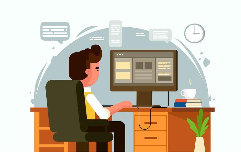 Vector ilustración de trabajador de oficina