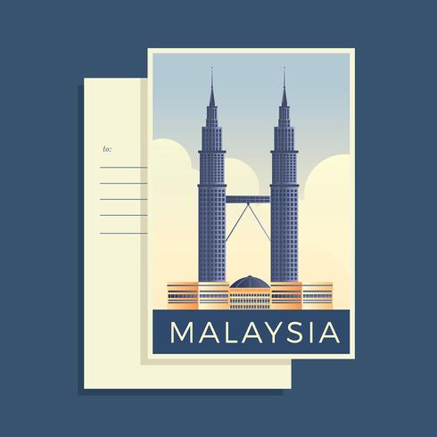 Postales del vector de Malasia del mundo
